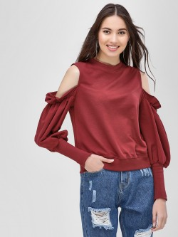 Sbuys Cold Shoulder Mutton Sleeve Sweatshirt