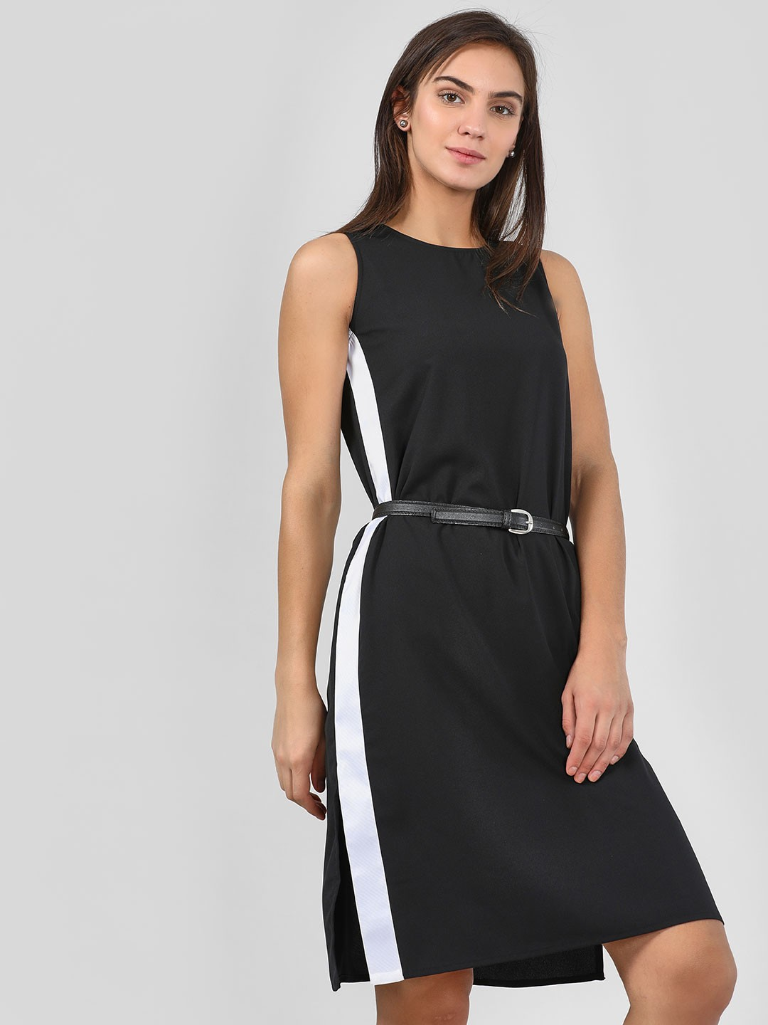 KOOVS Black Side Tape Shift Dress 1