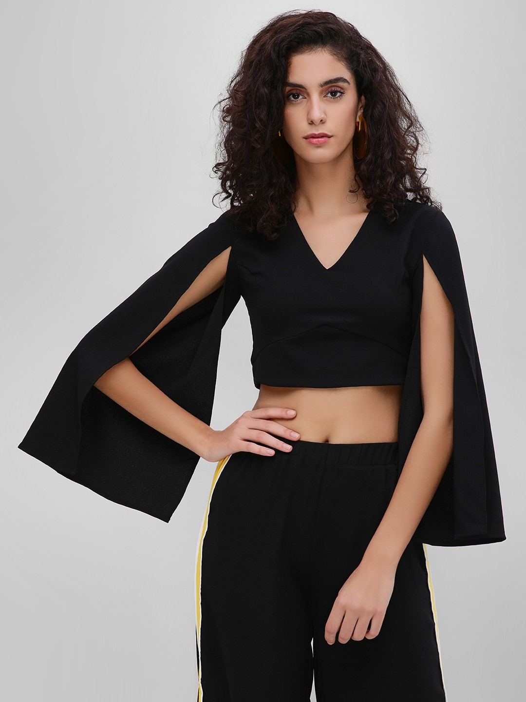 Oliv Black Crop Cape Top With Flared Sleeves 1