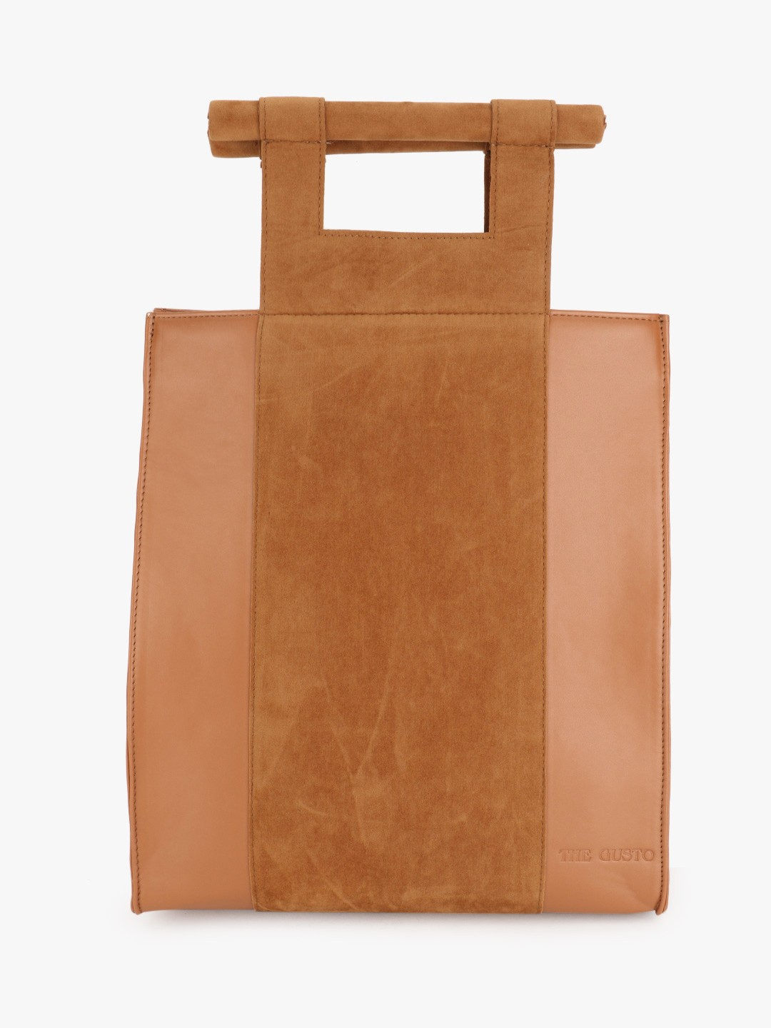 Gusto Brown Suede Colour Block Tote Bag 1