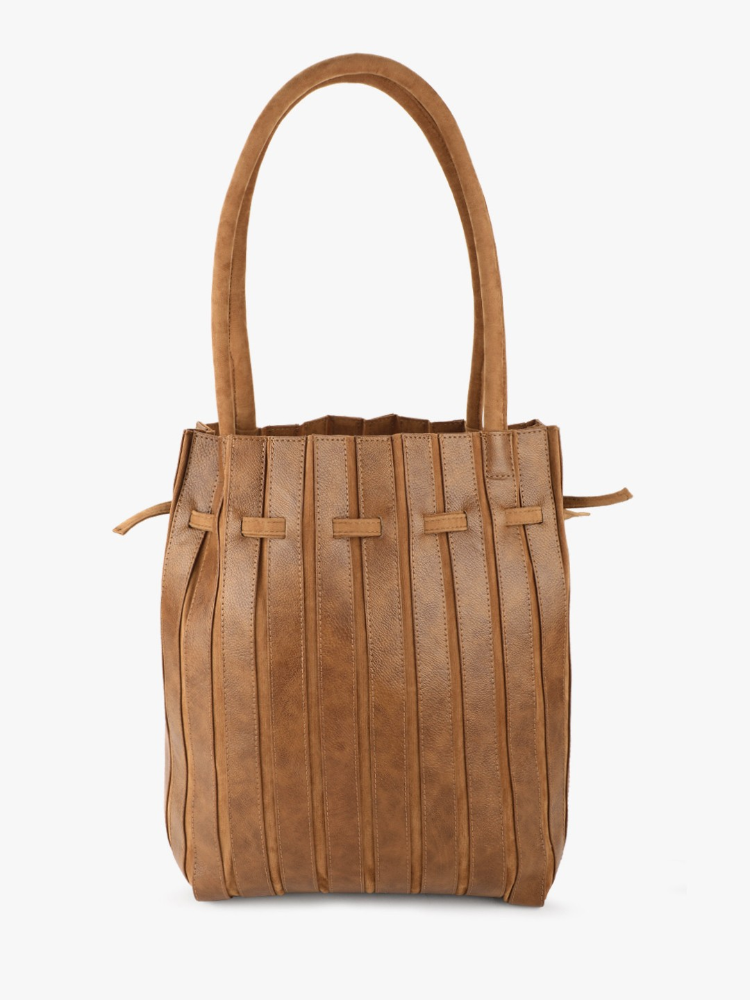 Gusto Brown Suede Detail Tote Bag 1
