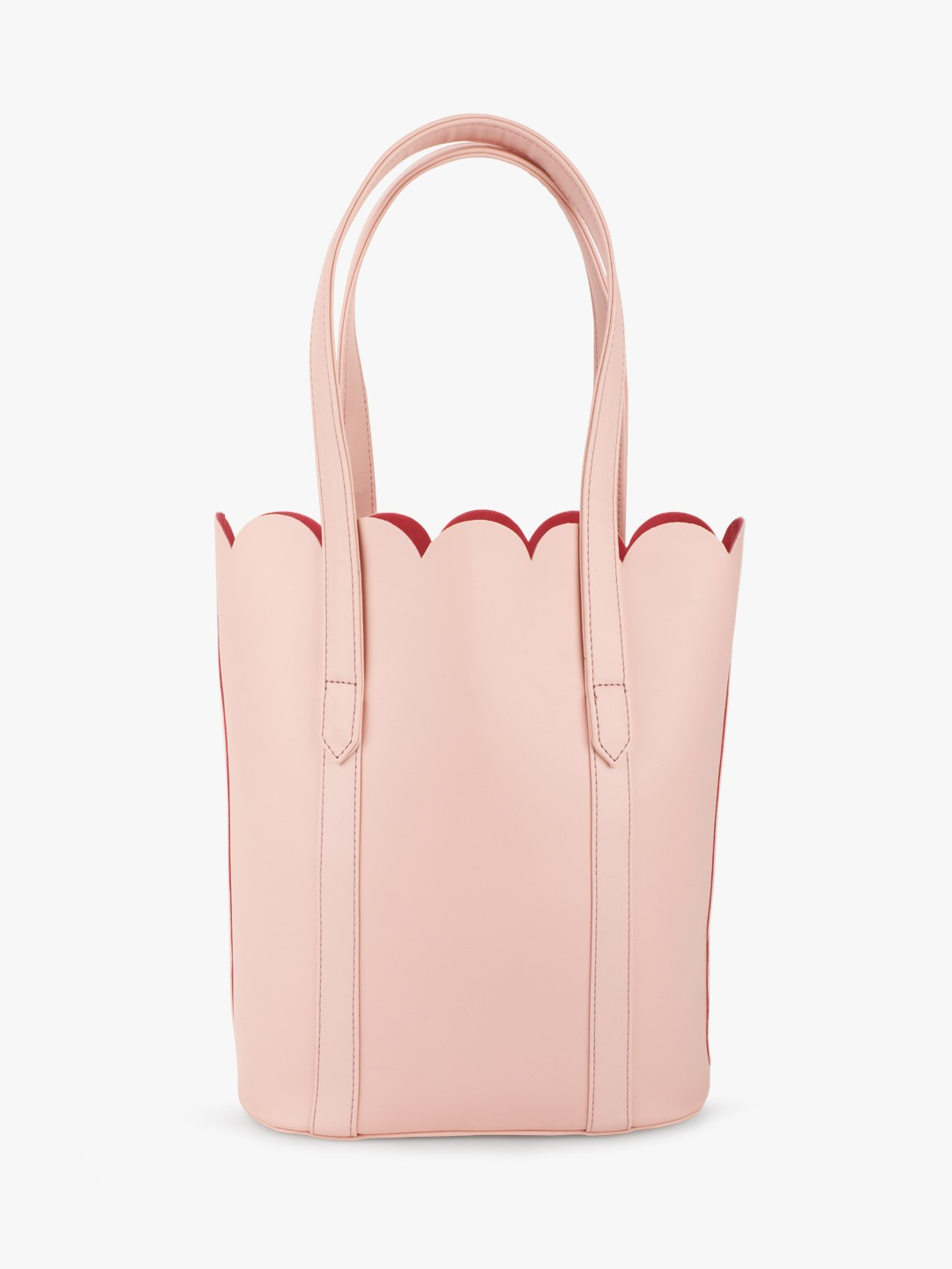 Gusto Pink Scalloped Tote Bag With Buckle Detail 1