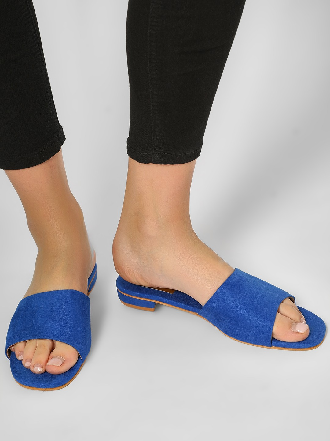 CAi Blue Basic Suede Slides 1