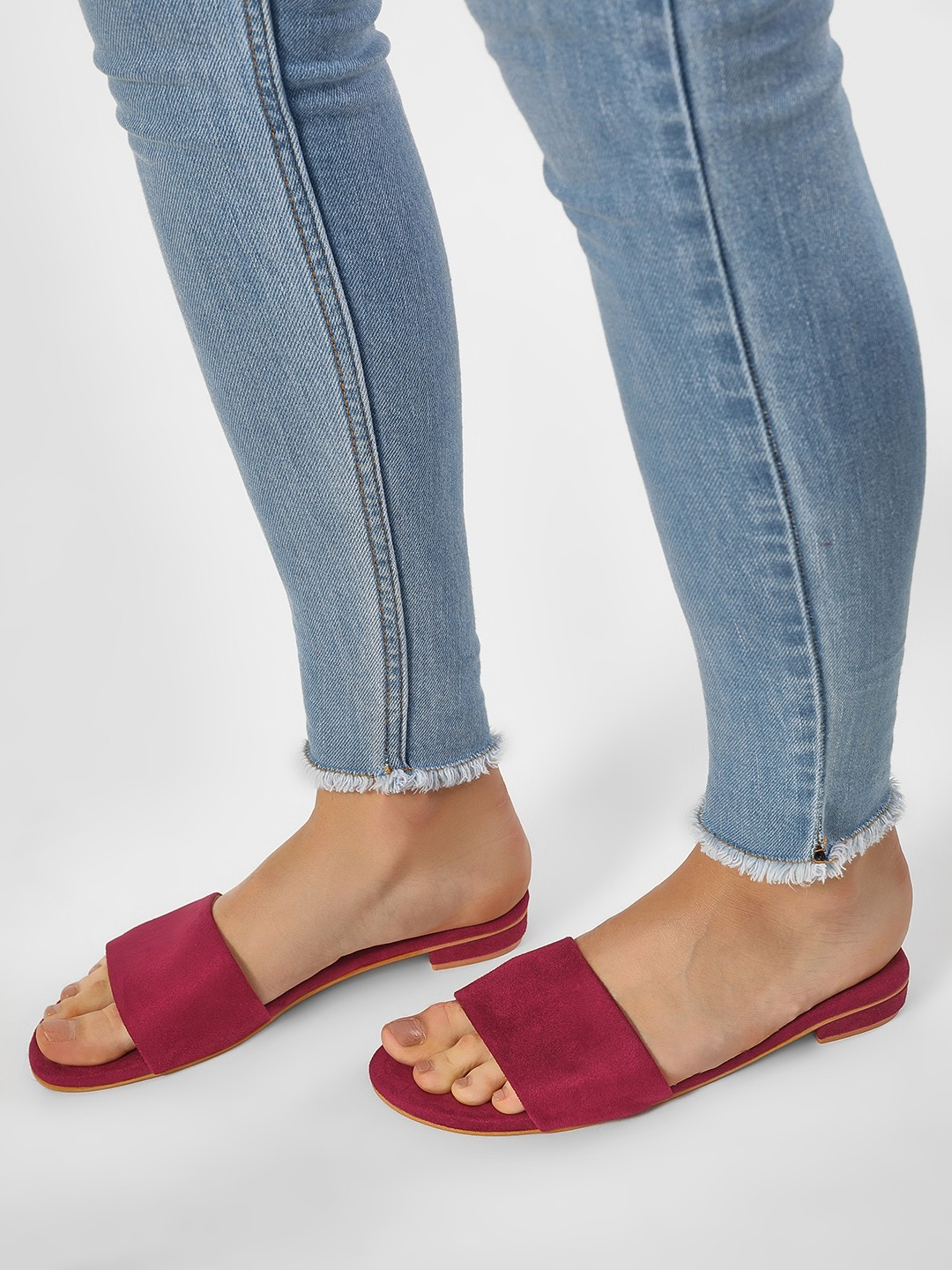 CAi Maroon Basic Suede Slides 1