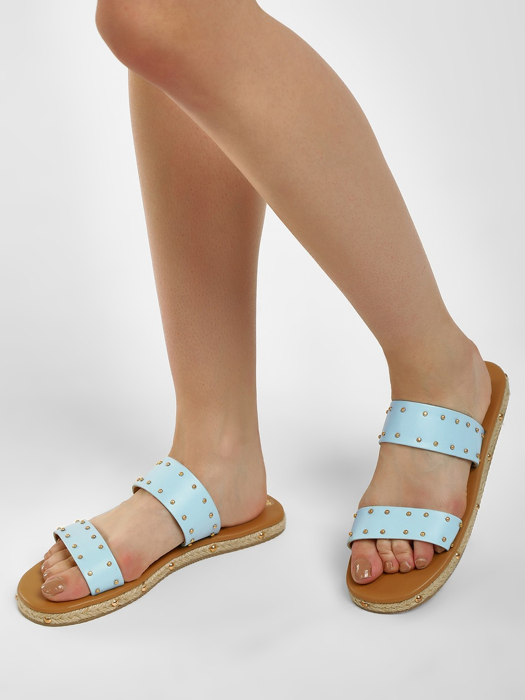 CAi Blue Twin Strap Studded Espadrille Sandal 1