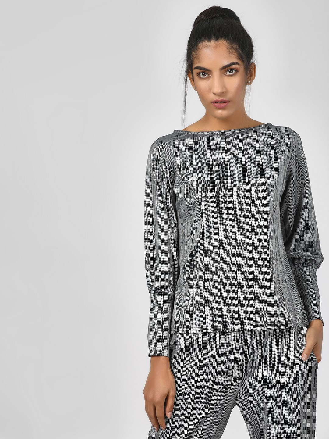 KOOVS Grey Vertical Striped Knitted Blouse 1