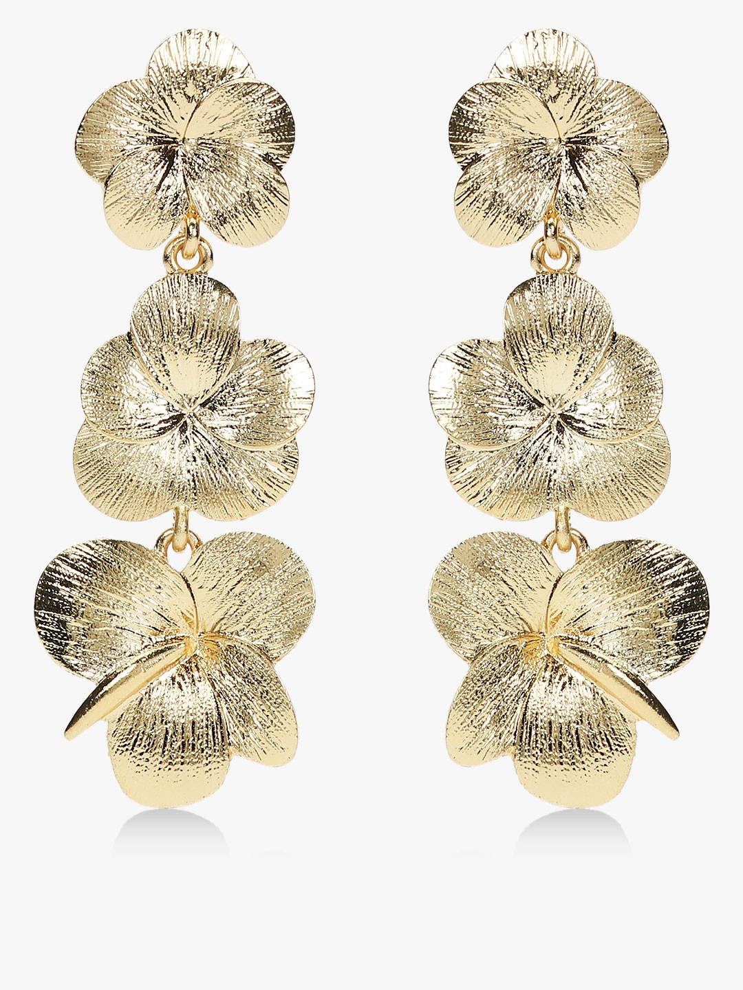 Style Fiesta Gold Floral Ear Drop Earrings 1