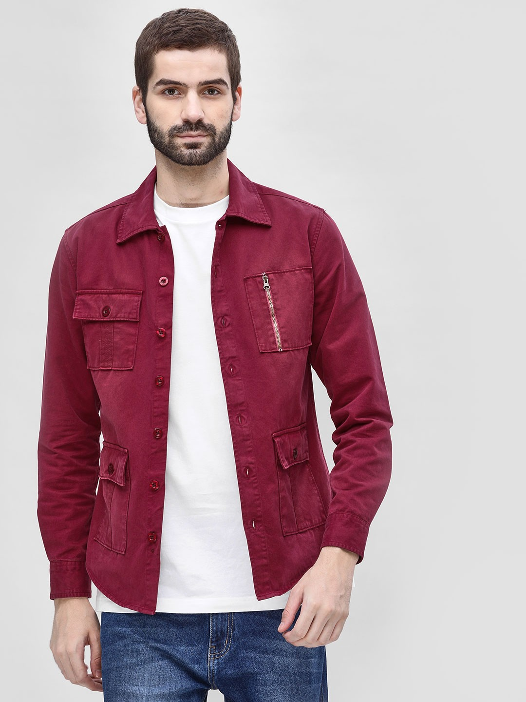 Blue Saint Maroon Four Pocket Slim Shacket 1