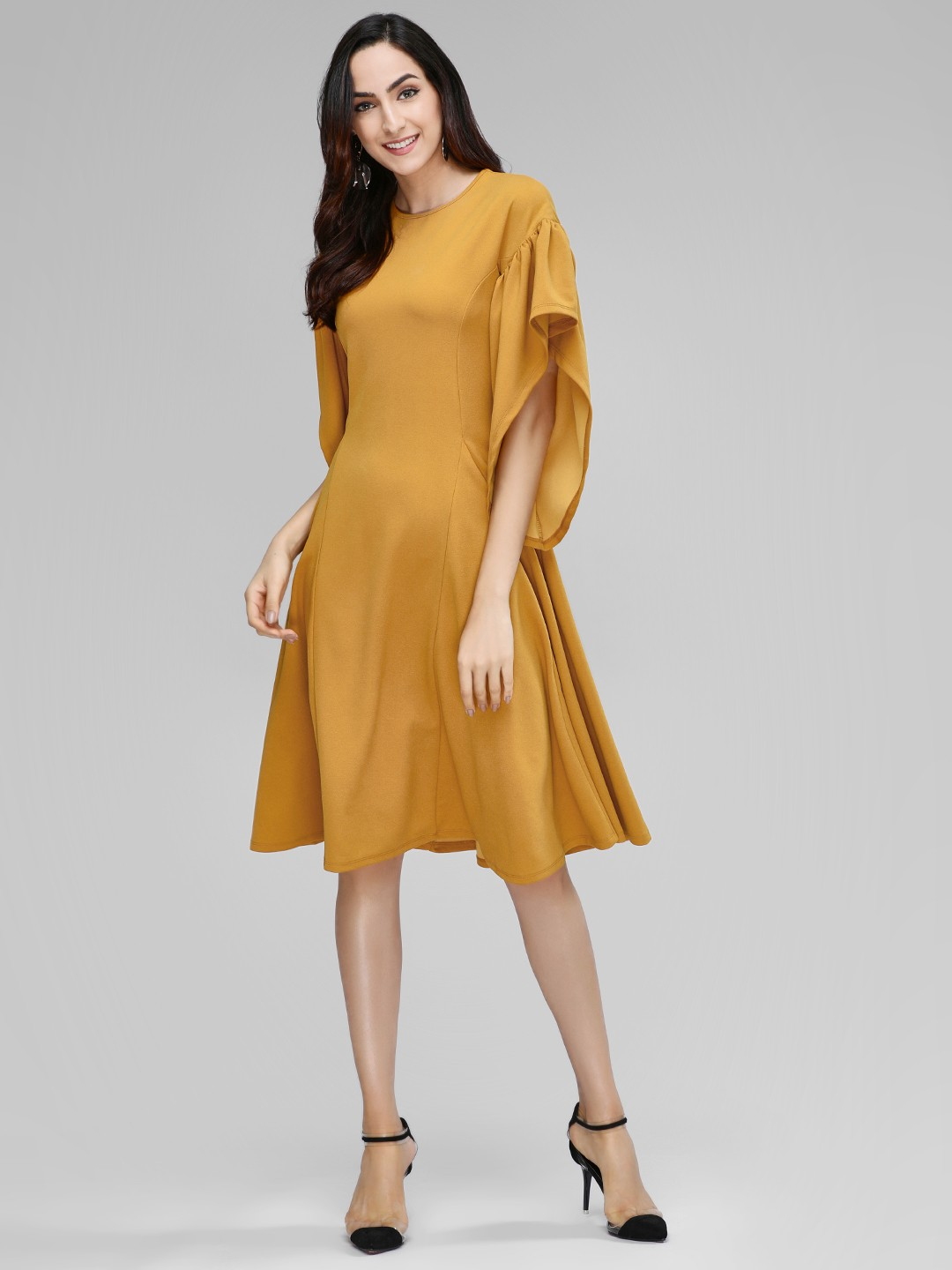 Femella Mustard Midi Dress With Exaggerated Sleeves 1