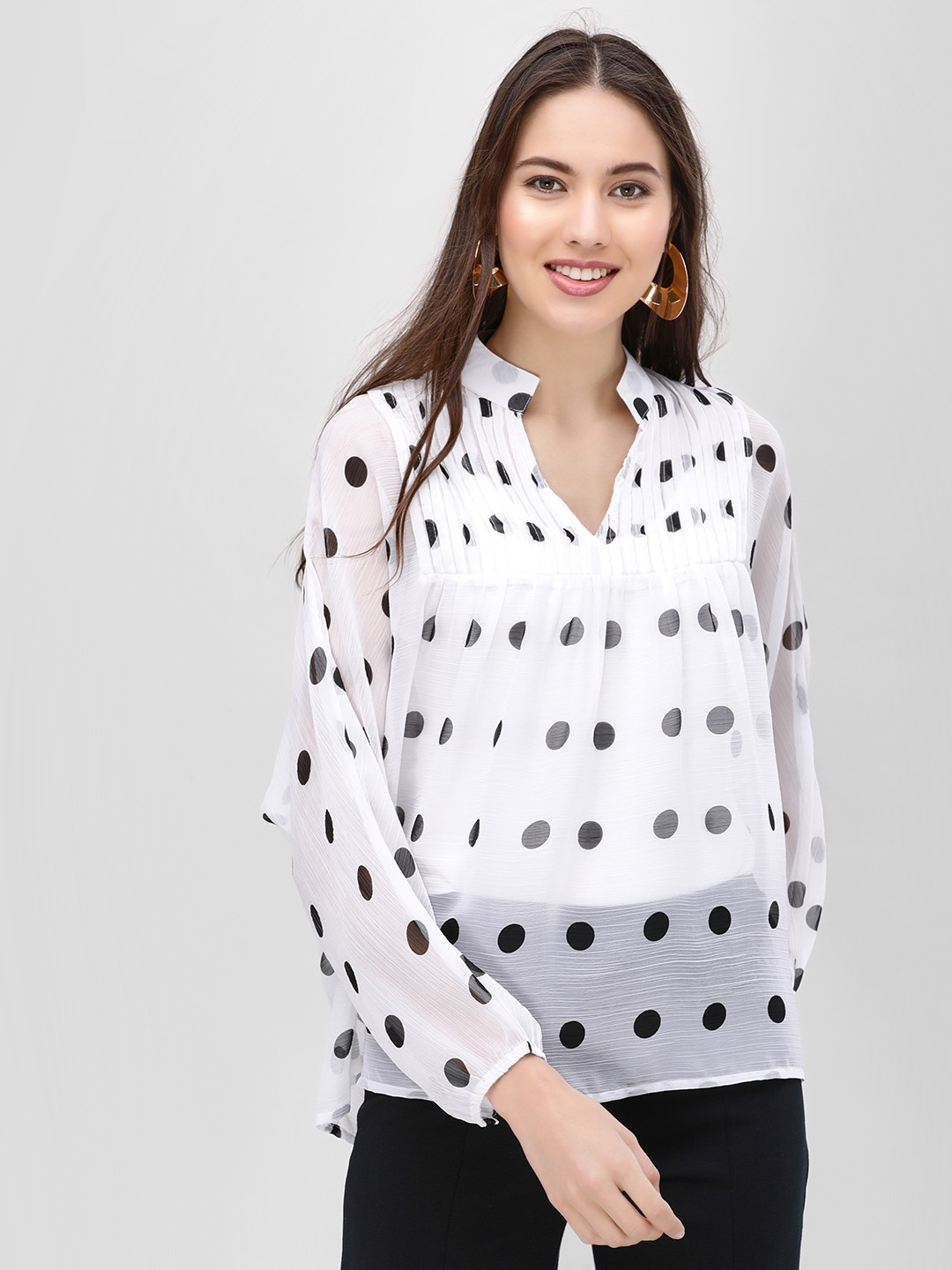 Femella White Polka Dot Oversized Top 1