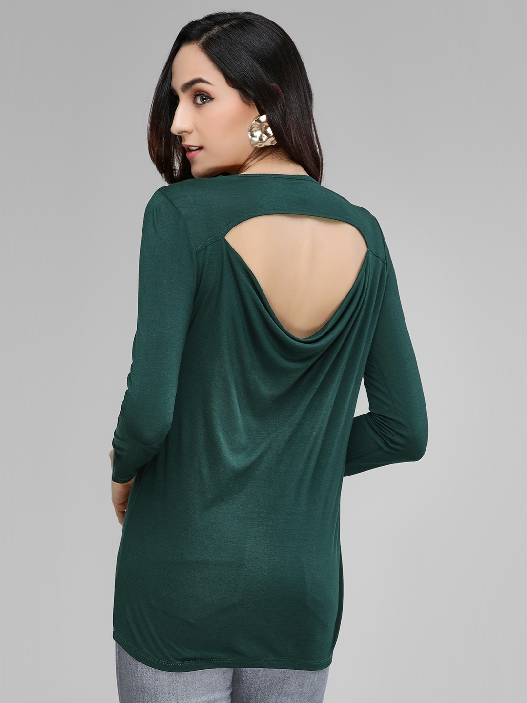 Femella Green Back Cowl Neck Top 1