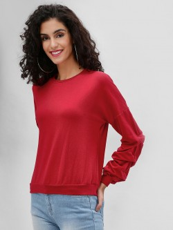 Femella Basic Ruched Sleeve Sweatshirt