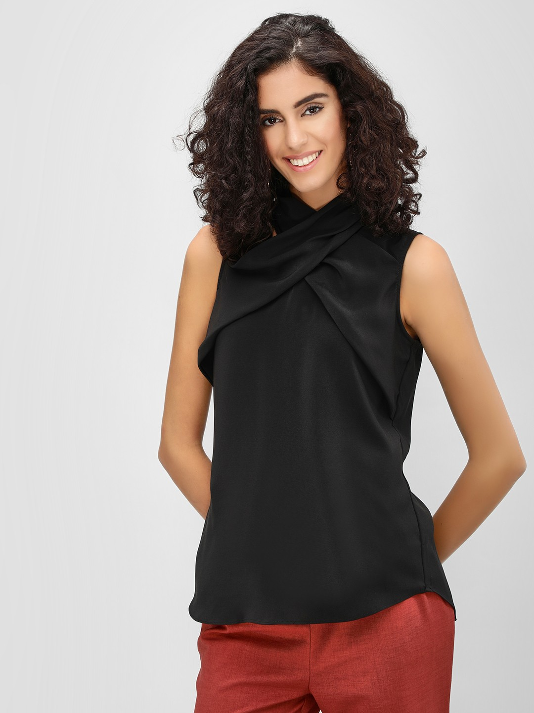 Cover Story Black Crossover Neck Sleeveless Top 1