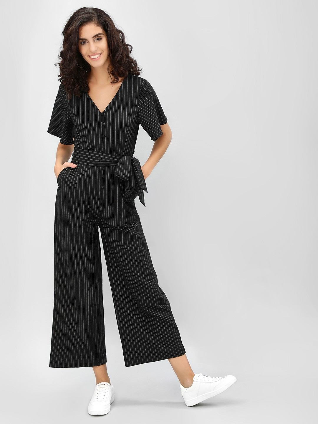 Cover Story STRIPE Contrast Striped Cropped Jumpsuit 1