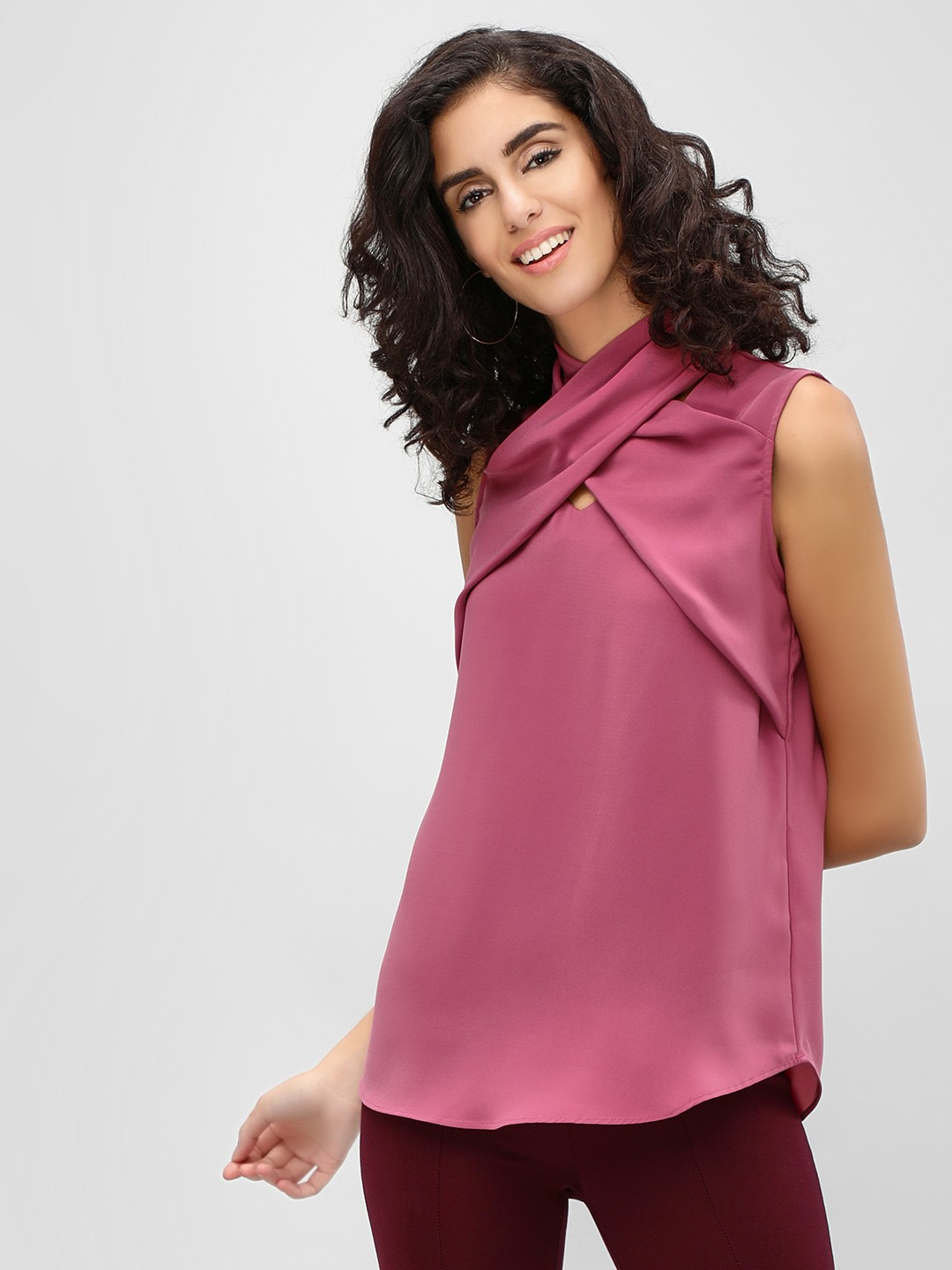 Cover Story PLUM Crossover Neck Sleeveless Top 1