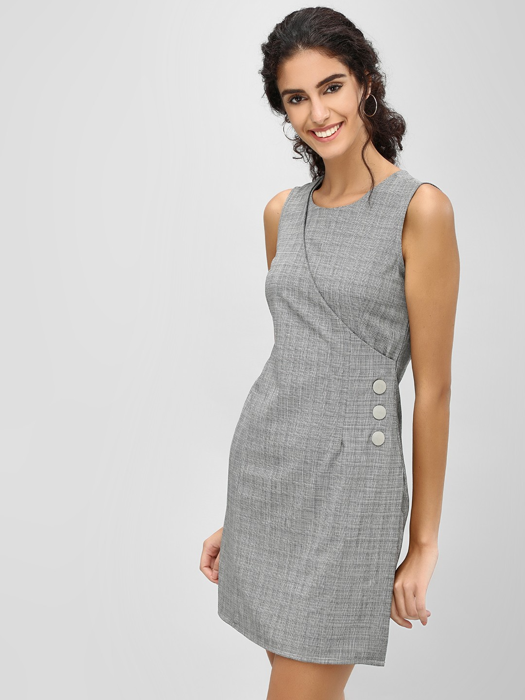 Cover Story Grey Shift Dress With Button Detail 1