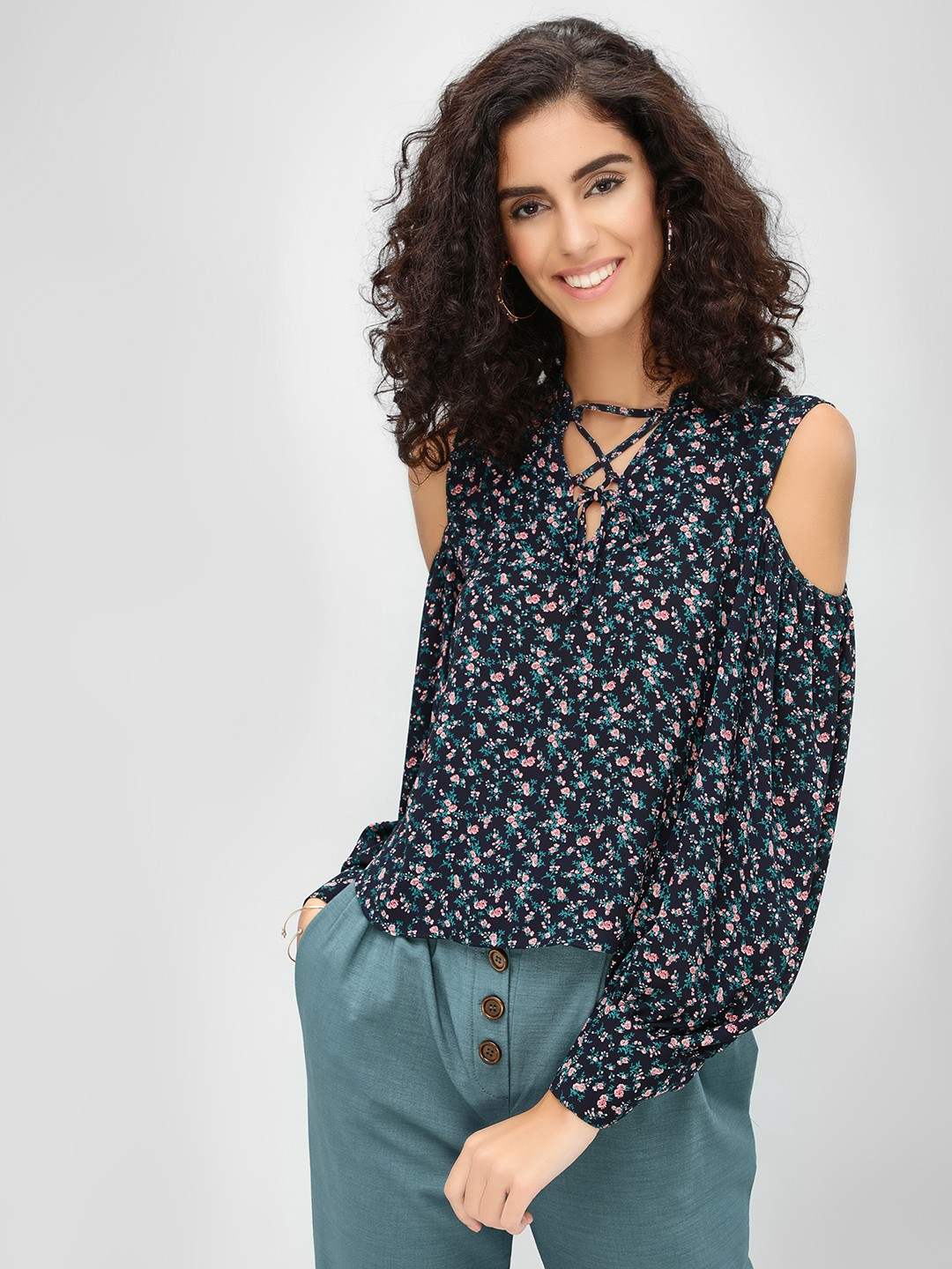 Cover Story Blue Ditsy Floral Cold Shoulder Top 1