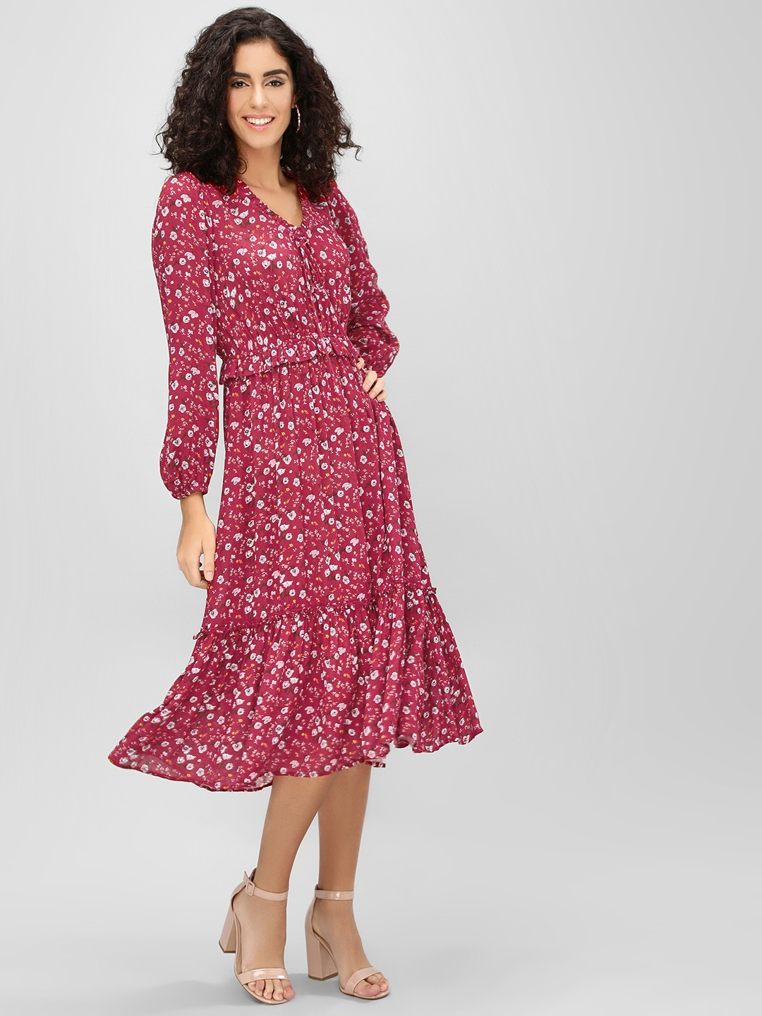 Cover Story Wine Ditsy Floral Printed Midi Dress 1