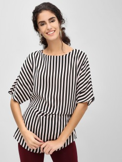 Cover Story Side Gather Detail Striped Top