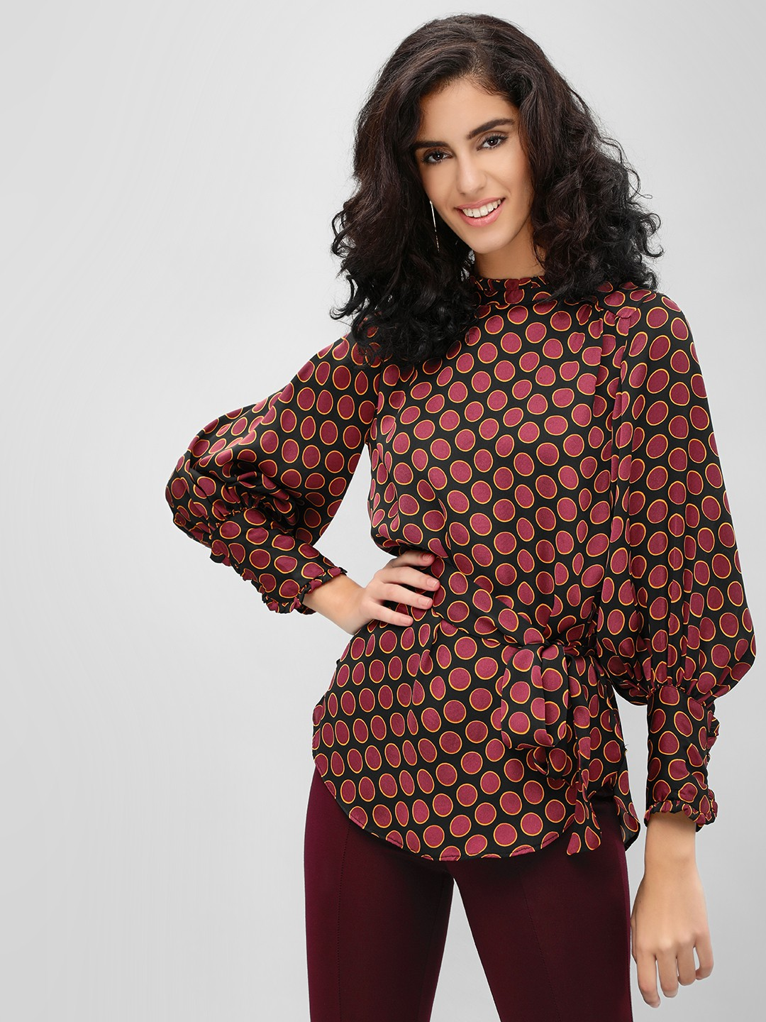 Cover Story Maroon Volume Sleeve Printed Blouse 1