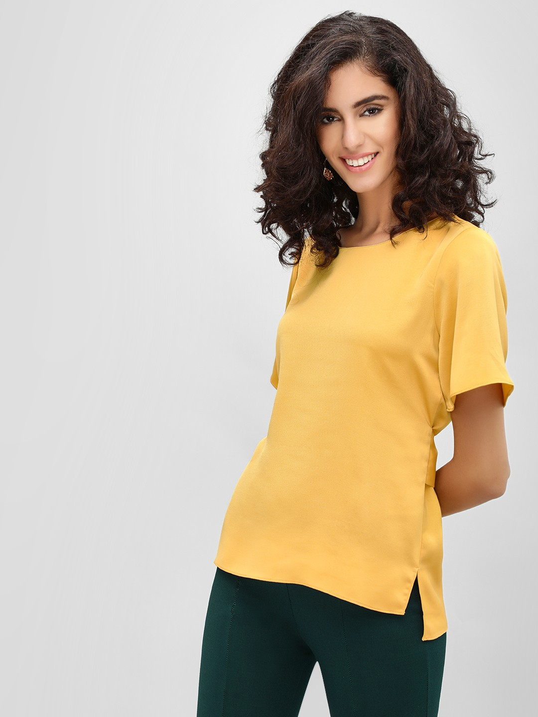 Cover Story Mustard Round Neck Top 1