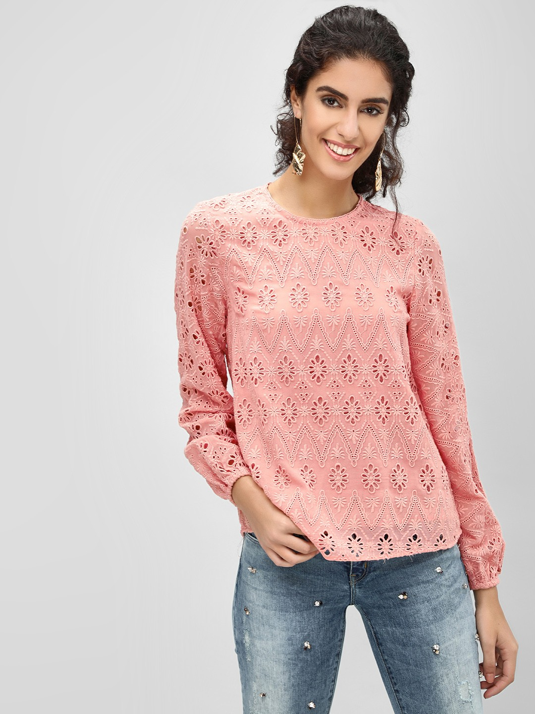Cover Story Pink All Over Broderie Top 1