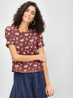 Cover Story Floral Round Neck Blouse