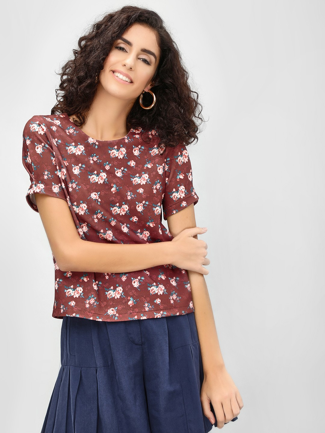 Cover Story Wine Floral Round Neck Blouse 1