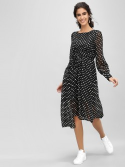 Cover Story Polka Dot Print Asymmetric Dress