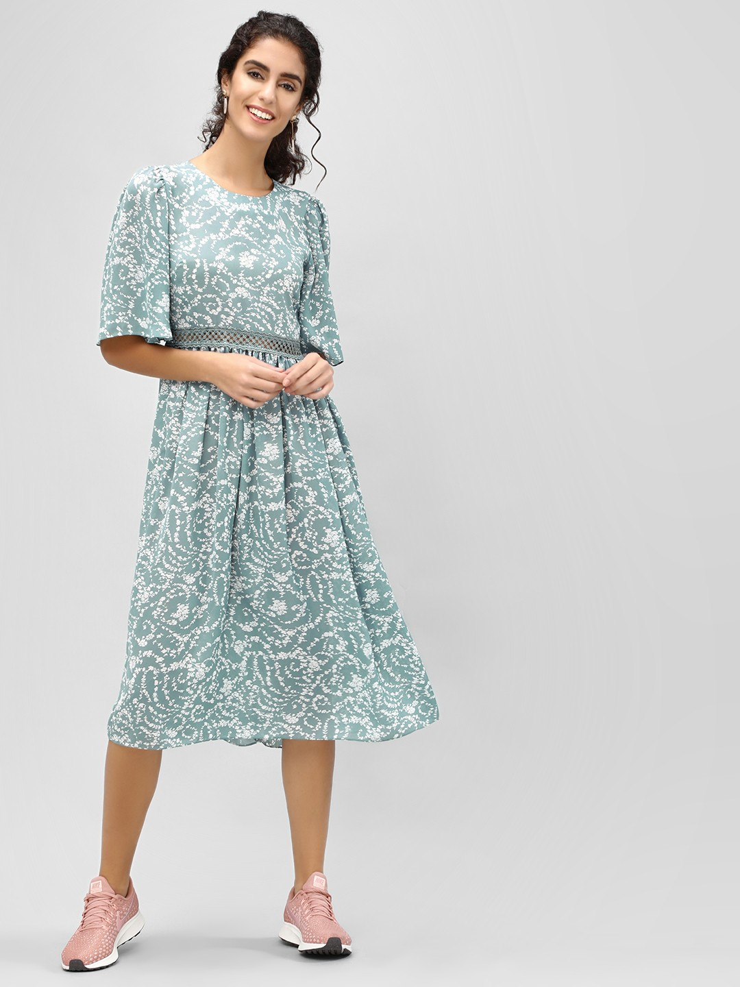 Buy Cover Story Blue Floral Flare Sleeve Midi Dress For