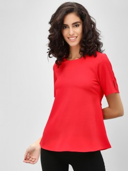 Cover Story Flare Sleeves And Tie Knot Detail Blouse