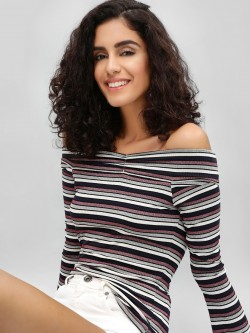Cover Story Striped Bardot Top