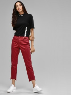 Only Cropped Frayed Regular Fit Jeans