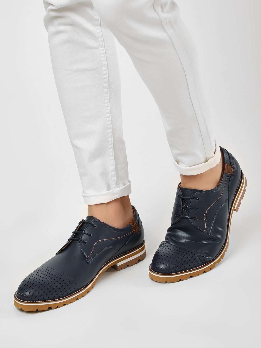 Rodolfo Darrell Blue Cleated Sole Derby Shoes 1