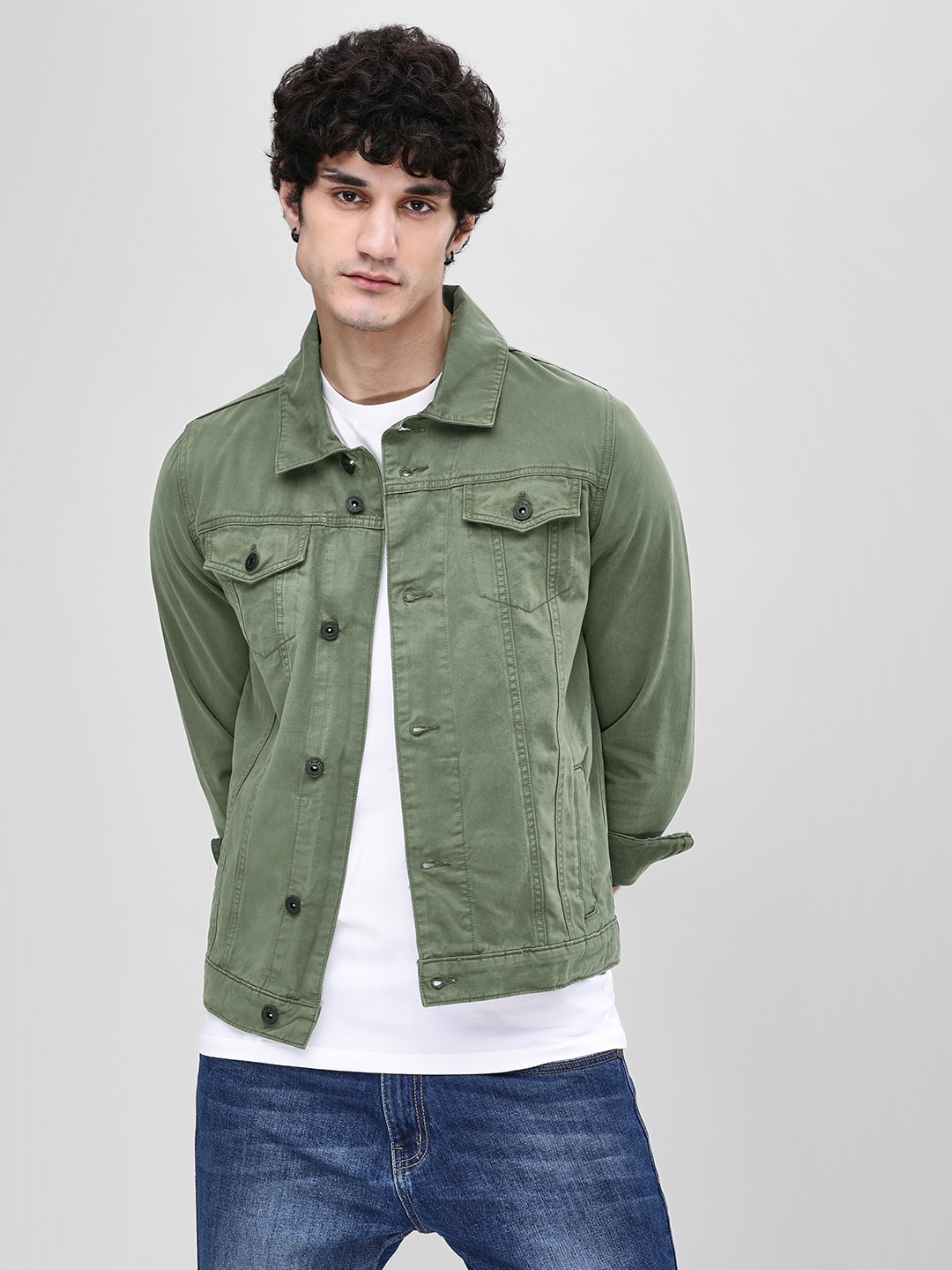 the latest f0478 07a4c Buy Blue Saint Green Twin Patch Pocket Denim Jacket for Men ...