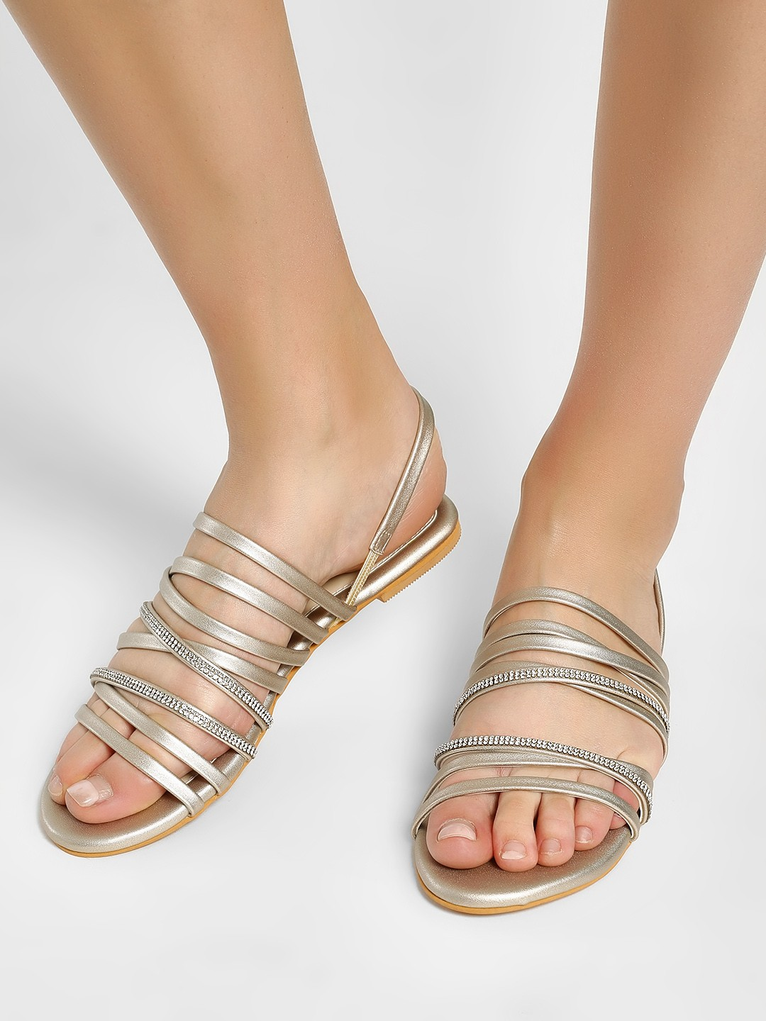 CAi Gold Metallic Multi-Strap Embellished Sandals 1