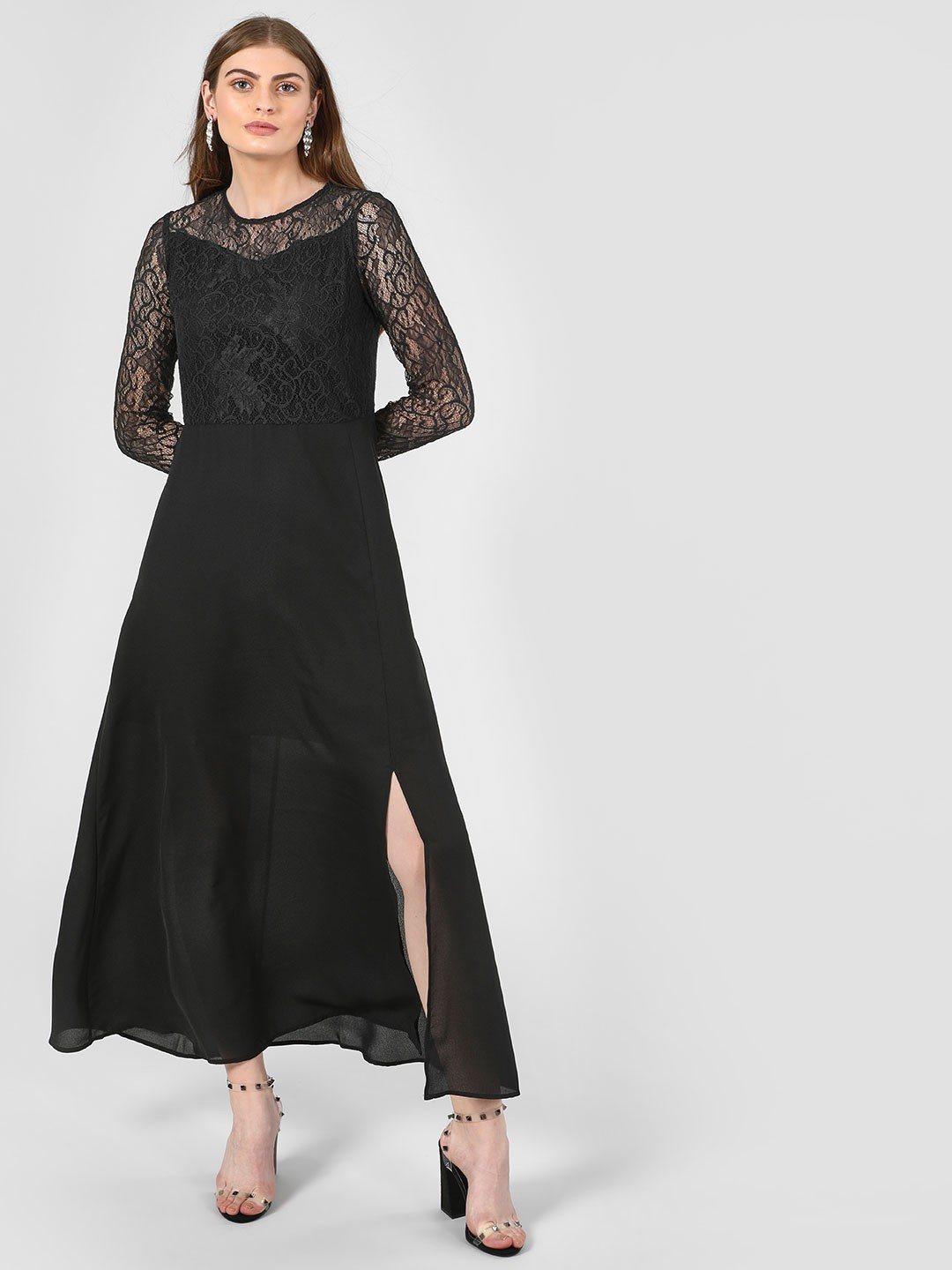 Femella Black Lace Bodice Maxi Dress 1