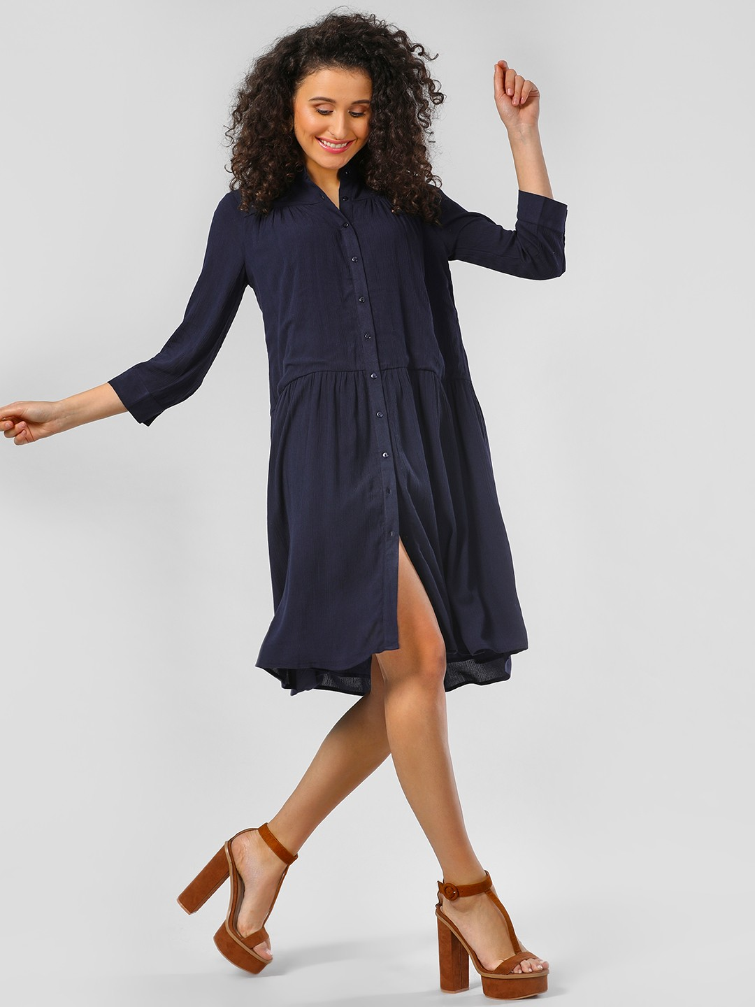 Femella Navy Navy Tier Shirt Mini Dress 1
