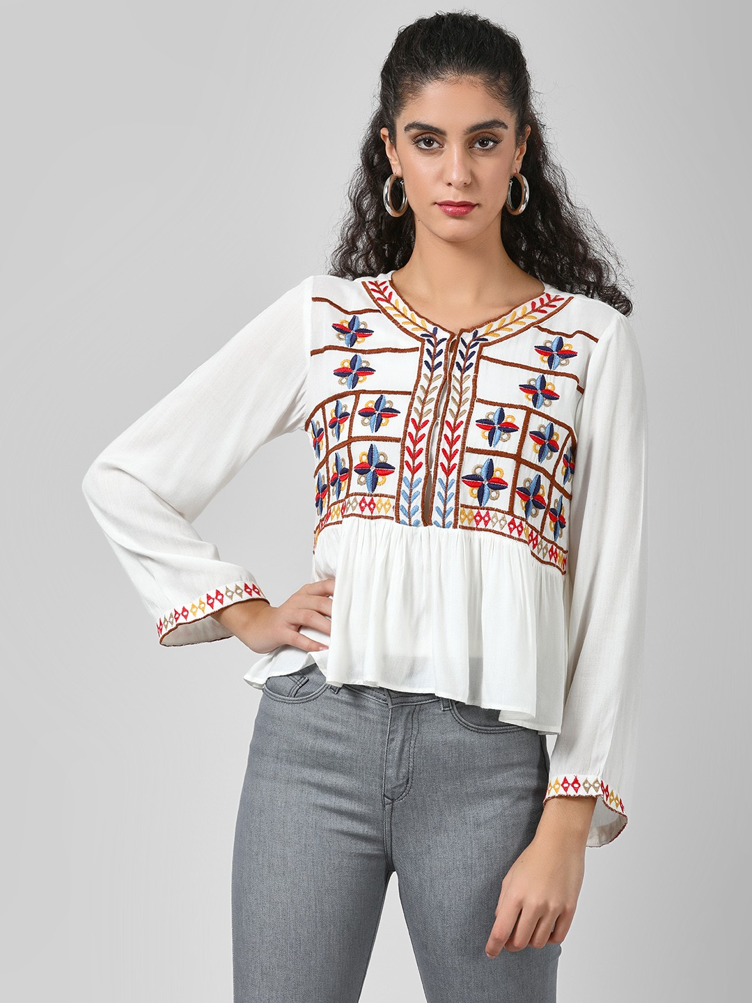 Rena Love White Blouse With Embroidered Bodice 1