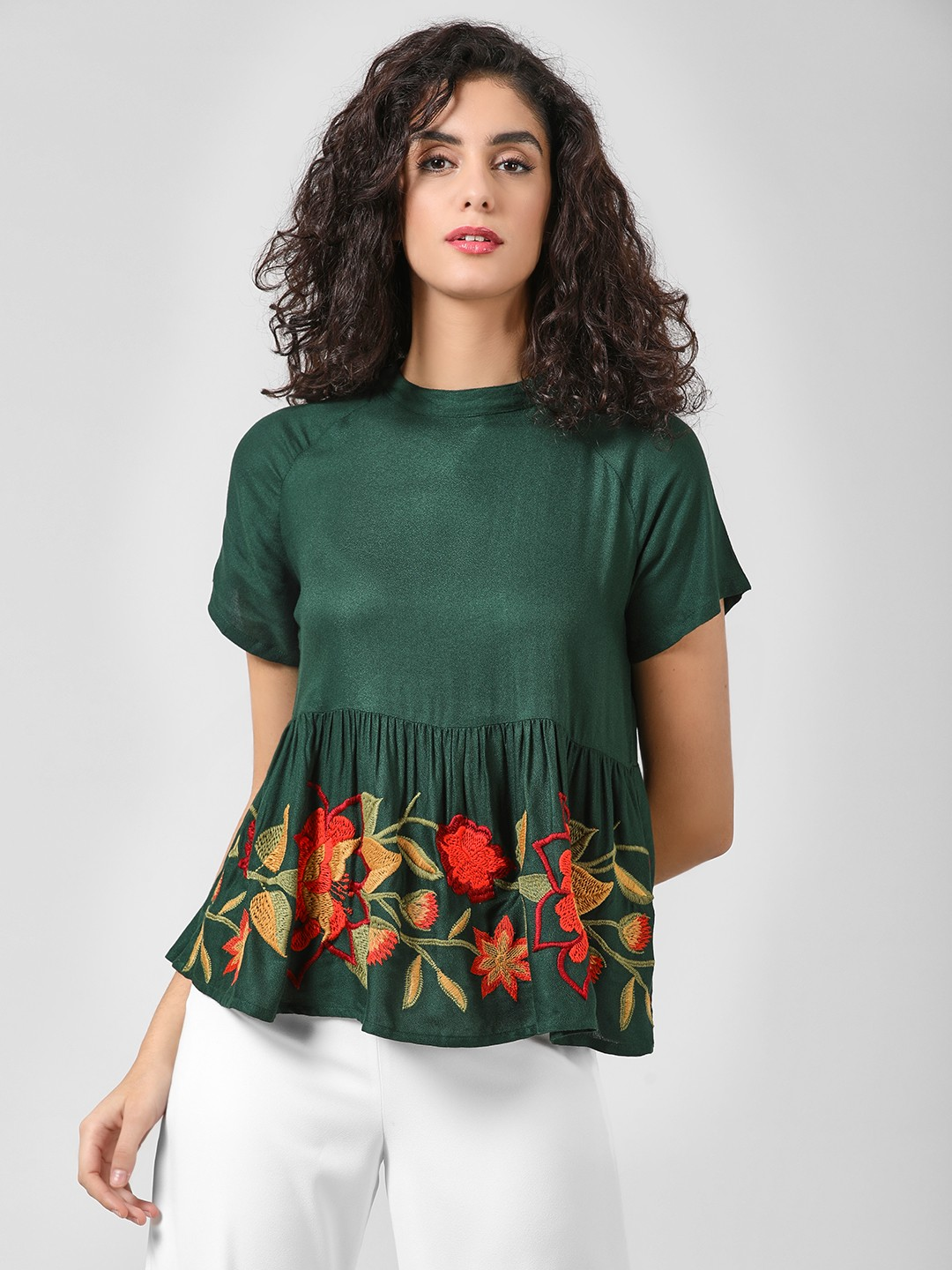 Buy Rena Love Floral Print Peplum Top For Women: Buy Rena Love Green Ladder Back Floral Embroidered Blouse