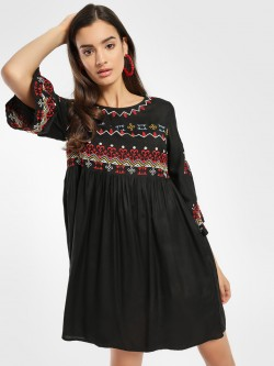 Rena Love Contrast Embroidered Shift Dress