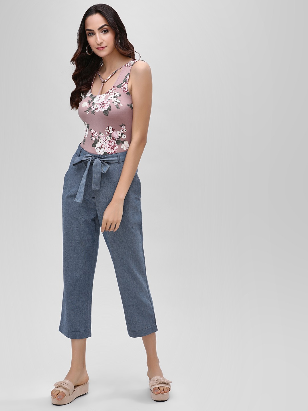 Street9 Blue Waist Tie Cropped Trousers 1