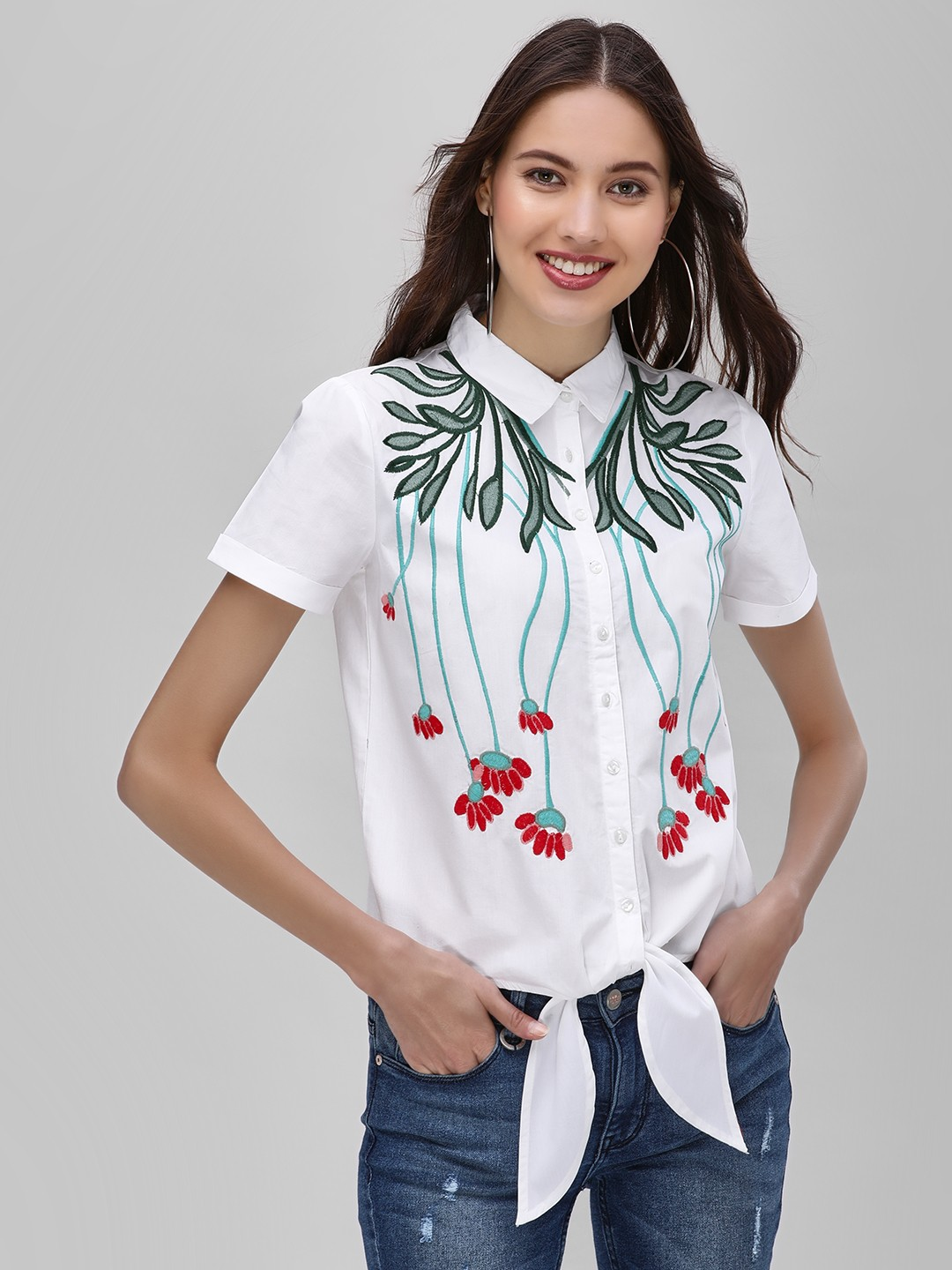 Street9 White Embroidered Knot Front Shirt 1