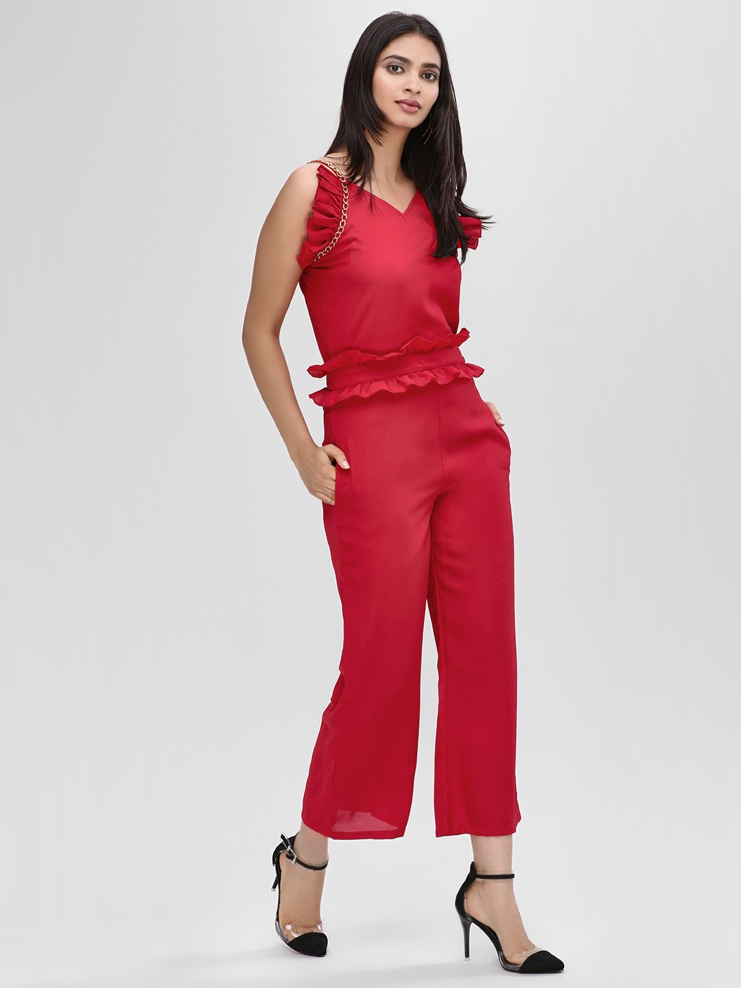 Street9 Red Ruffle Detail Strappy Jumpsuit 1