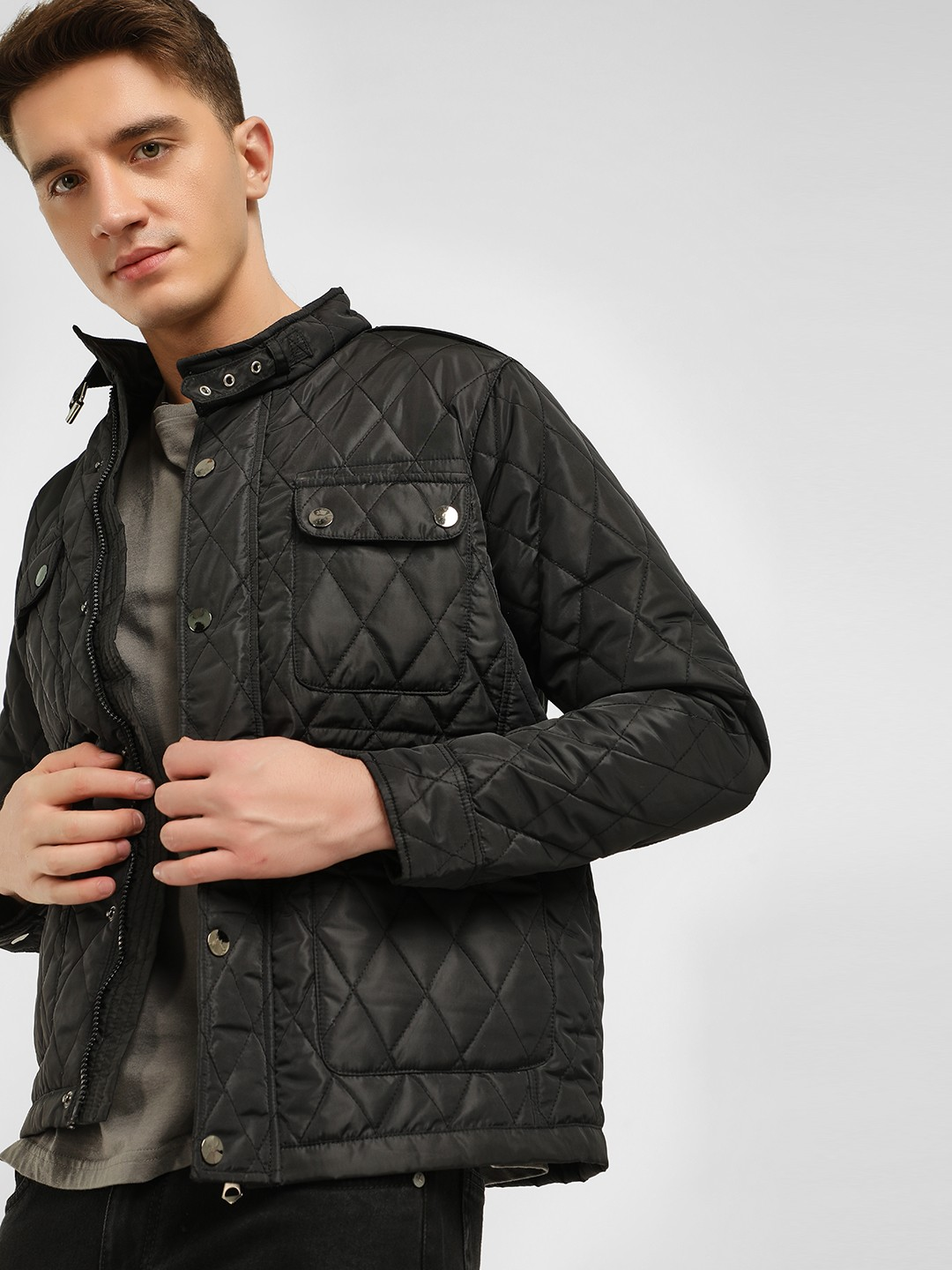 KOOVS Black Quilted Utility Pocket Jacket 1