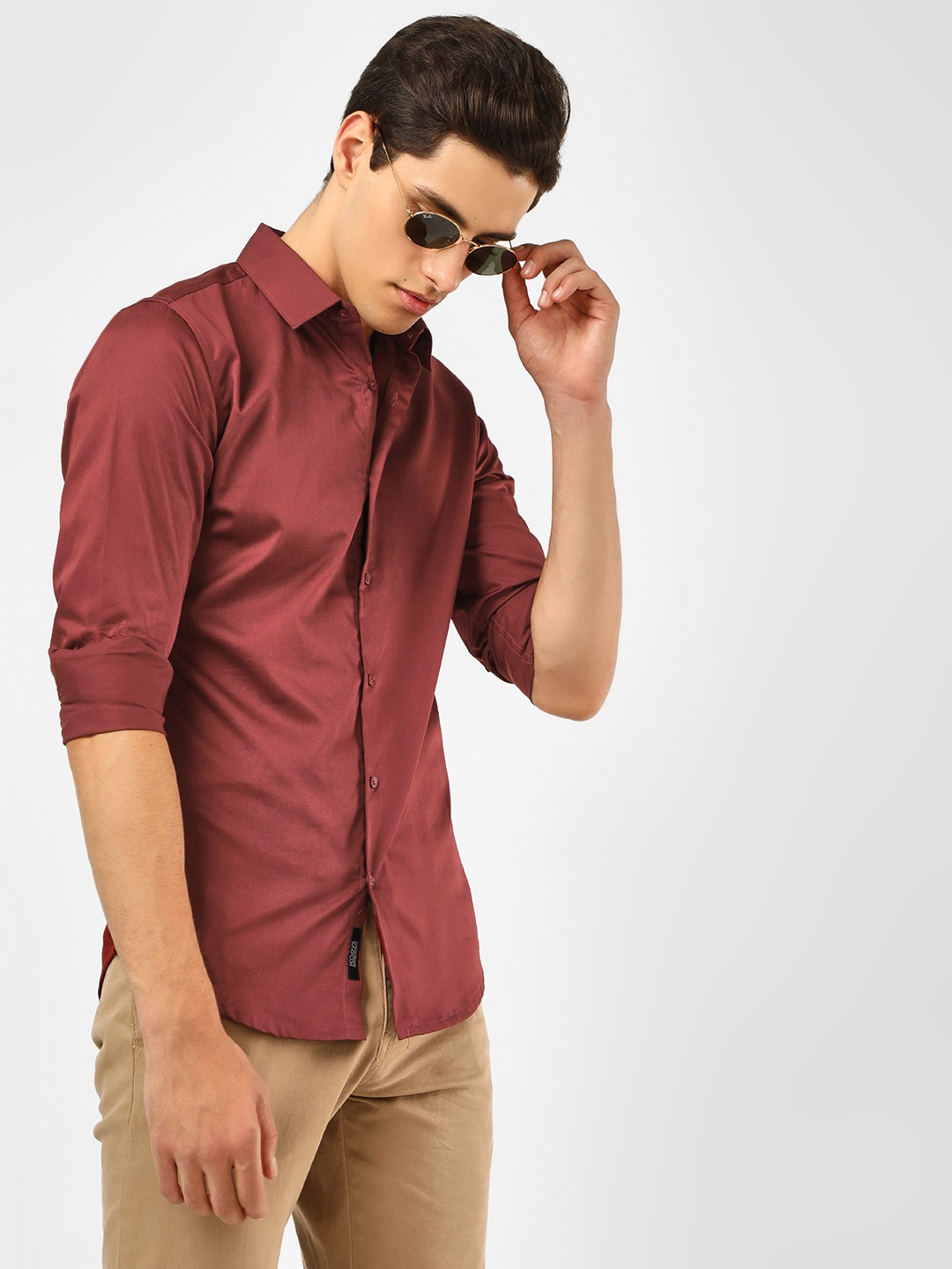 KOOVS Maroon Long Sleeve Smart Shirt 1