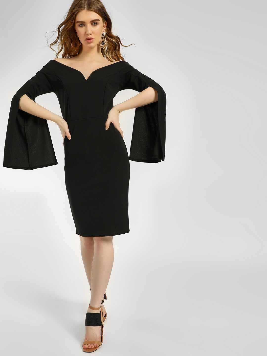 Quiz Black Split Sleeves Midi Dress 1