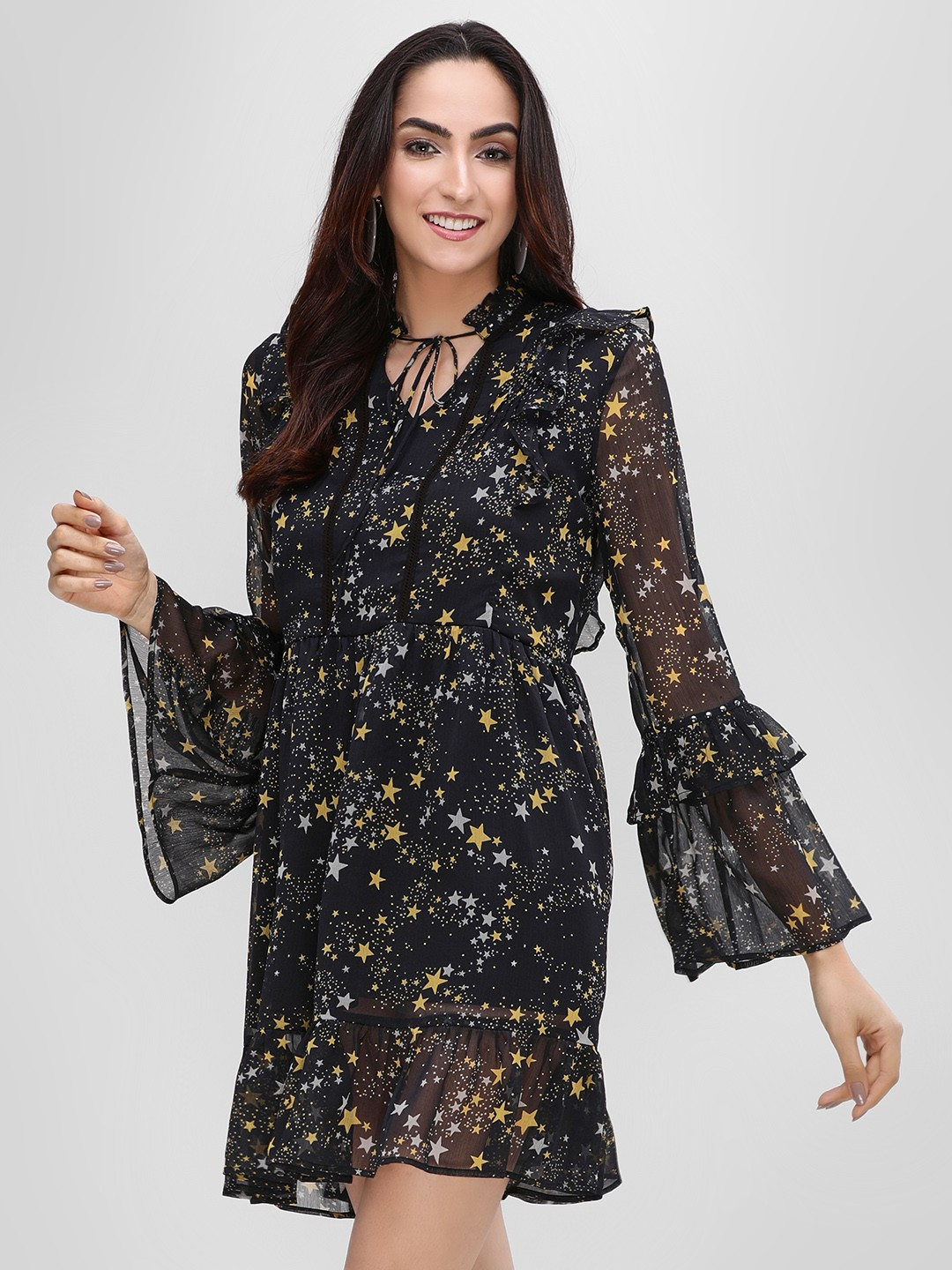 KOOVS Black Star Print Shift Dress 1