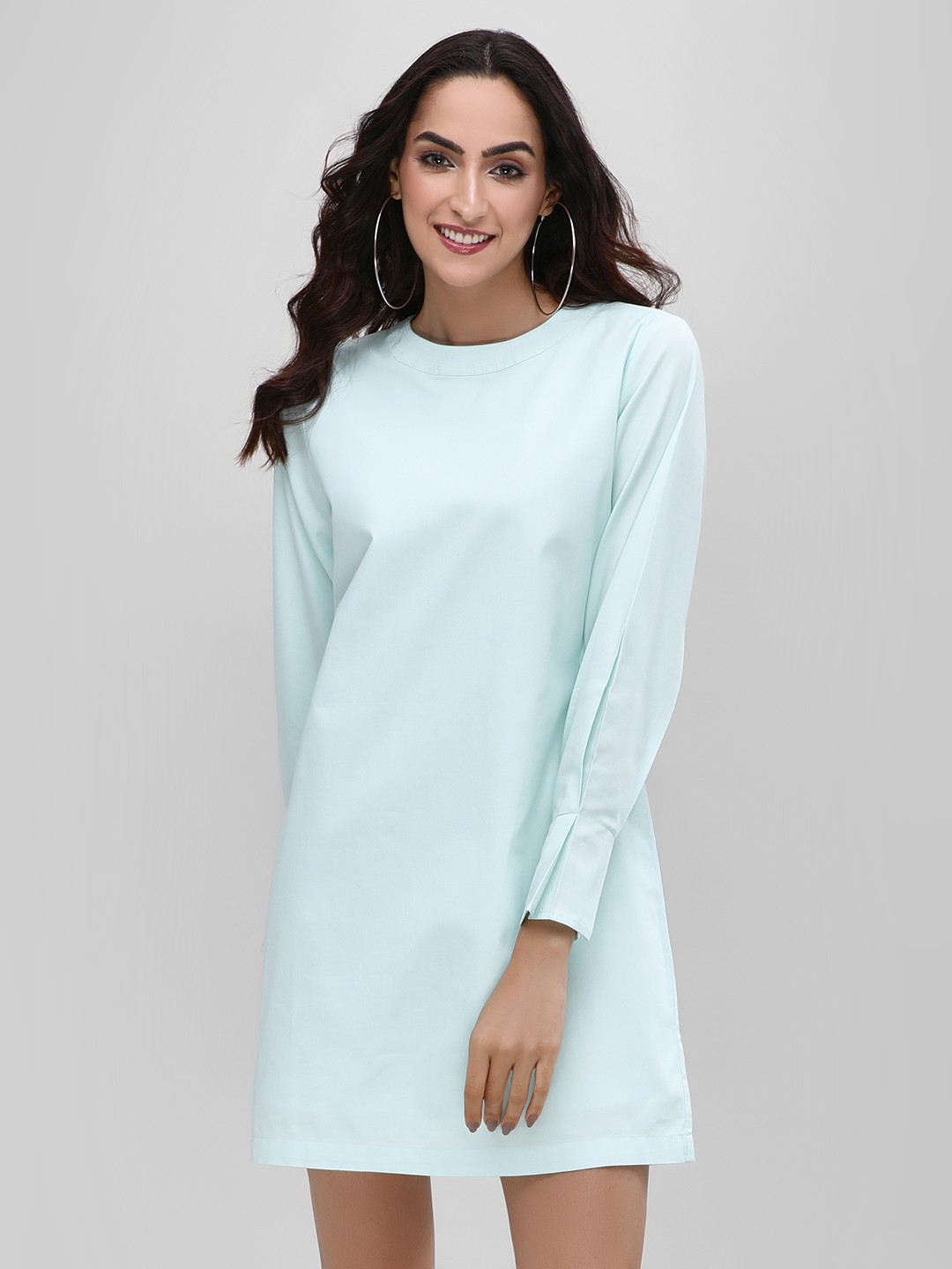 Bhaane Ice Blue Pleated Sleeve Shift Dress 1