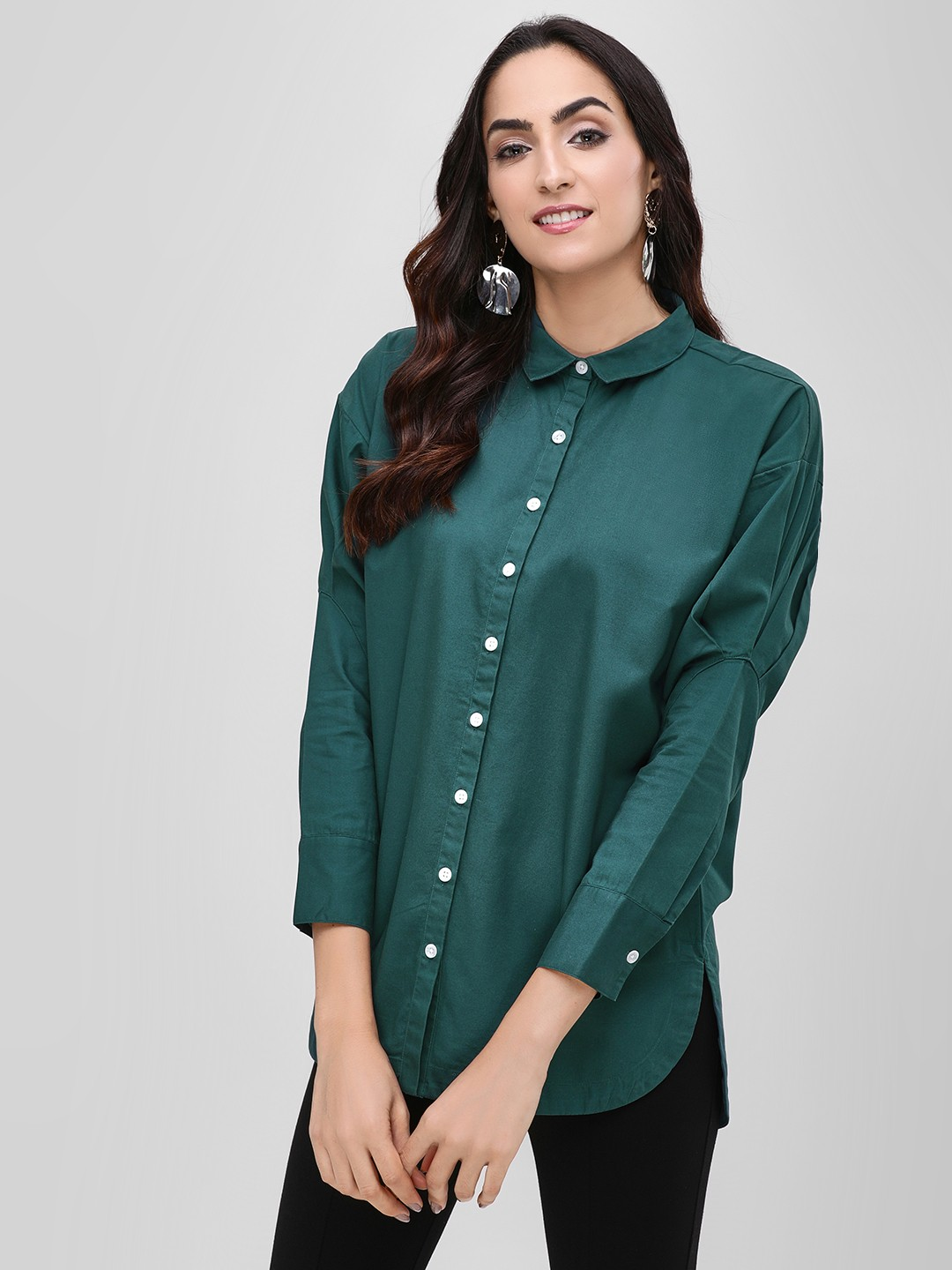 Bhaane BLUE/GREEN Pleated Sleeve High Low Shirt 1